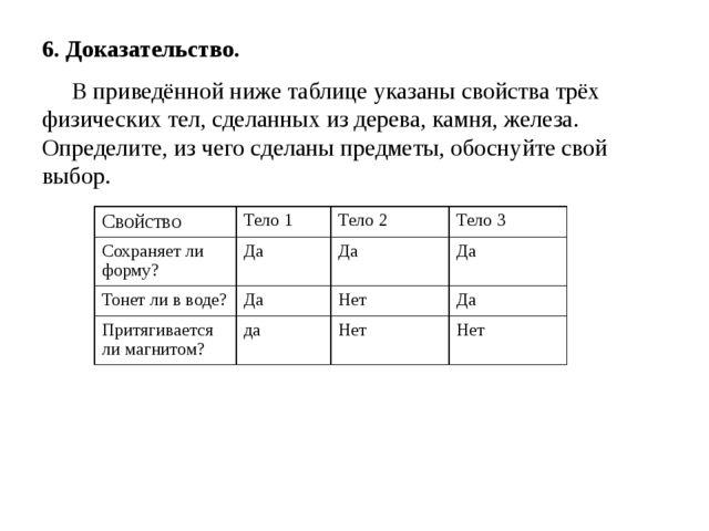 6. Доказательство. В приведённой ниже таблице указаны свойства трёх физически...