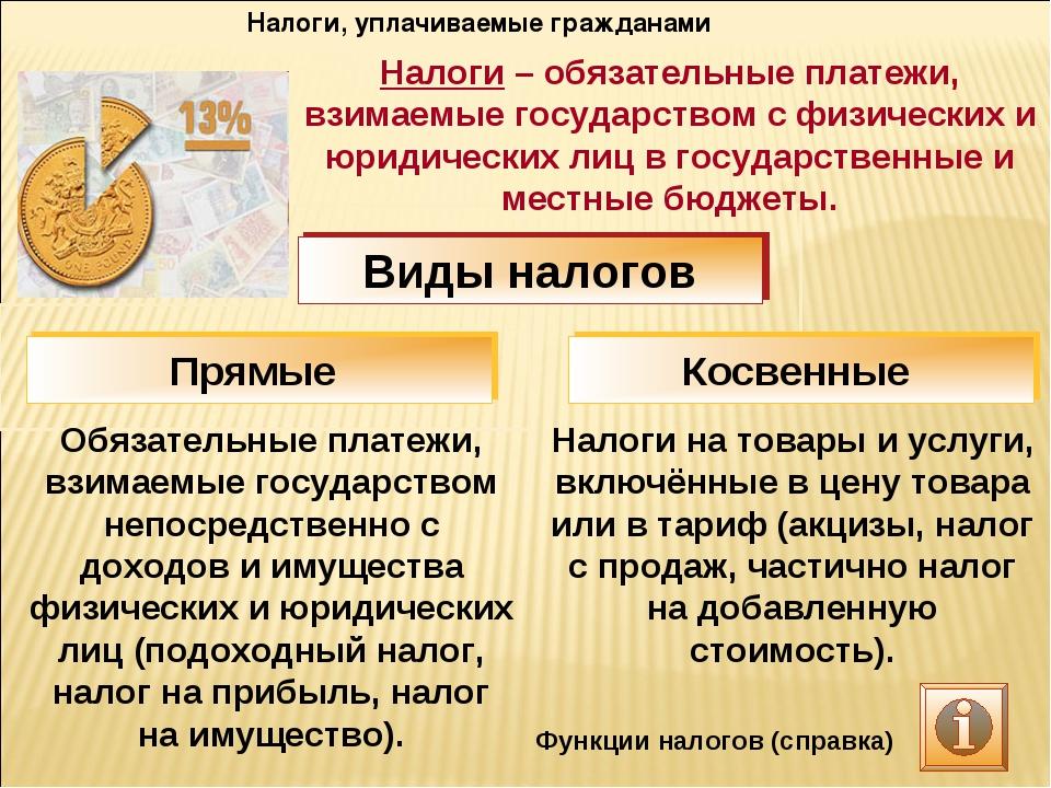 Налоги, уплачиваемые гражданами Обязательные платежи, взимаемые государством...