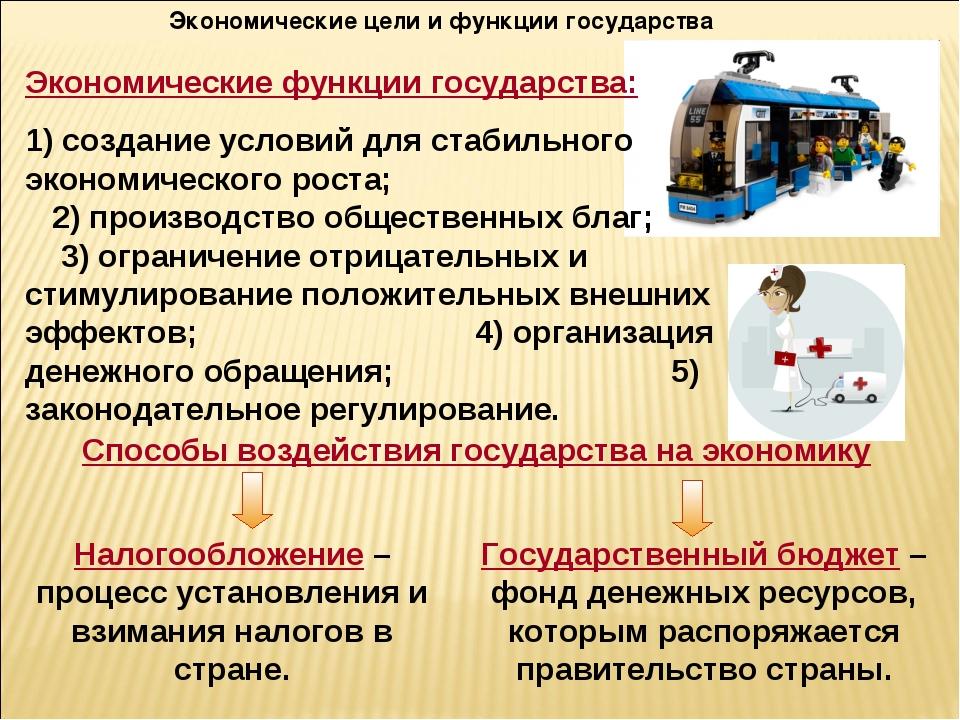 Экономические цели и функции государства Налогообложение – процесс установлен...
