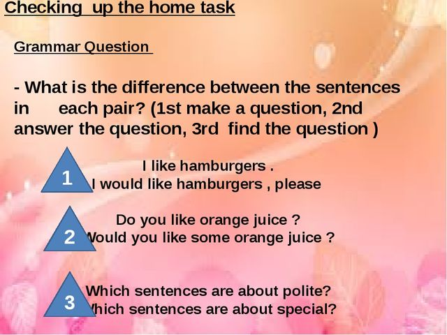 Checking up the home task Grammar Question - What is the difference between...
