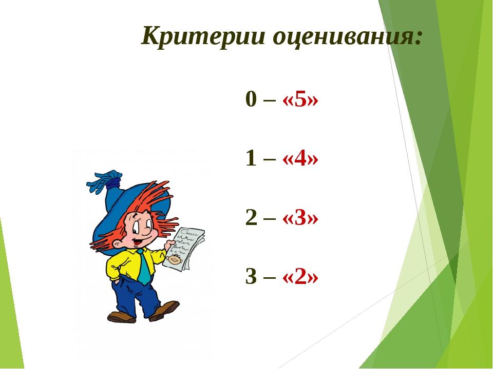 Критерии оценивания: 0 – «5» 1 – «4» 2 – «3» 3 – «2»