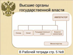 Высшие органы государственной власти В Рабочей тетради стр. 5 №8