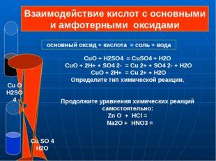 основный оксид + кислота = соль + вода CuO + H2SO4 = CuSO4 + H2O CuO + 2H+ +