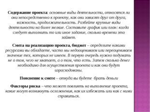 Содержание проекта: основные виды деятельности, относятся ли они непосредстве