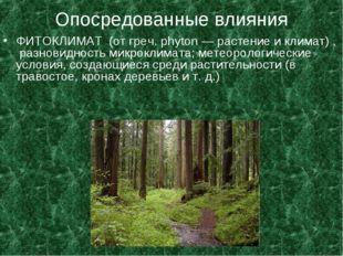 Опосредованные влияния ФИТОКЛИМАТ (от греч. phyton — растение и климат) , раз