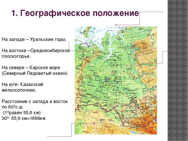 1. Географическое положение На западе – Уральские горы. На востоке –Среднесиб...