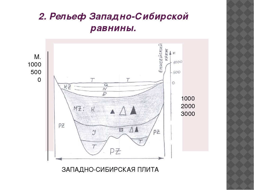 2. Рельеф Западно-Сибирской равнины. 1000 2000 3000 М. 1000 500 0 ЗАПАДНО-СИБ...
