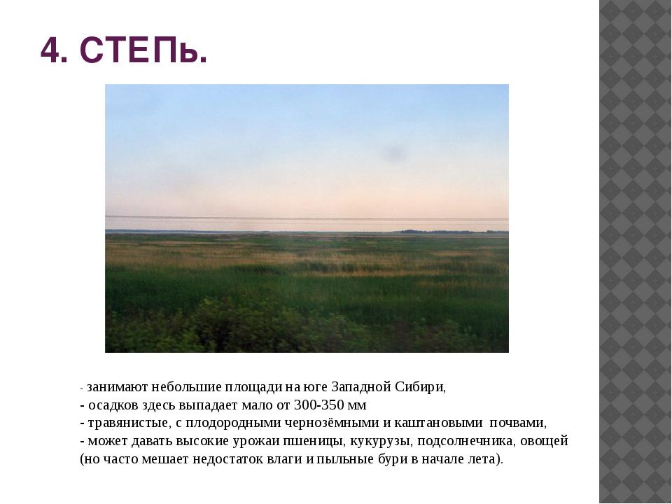 4. СТЕПь. - занимают небольшие площади на юге Западной Сибири, - осадков здес...