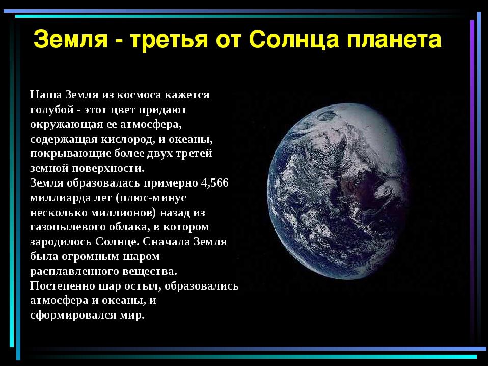 Земля - третья от Солнца планета Наша Земля из космоса кажется голубой - это...