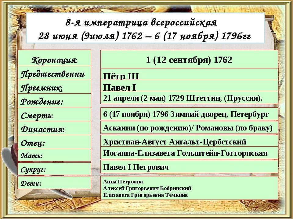 8-я императрица всероссийская  28 июня (9июля) 1762 – 6 (17 ноября) 1796гг...