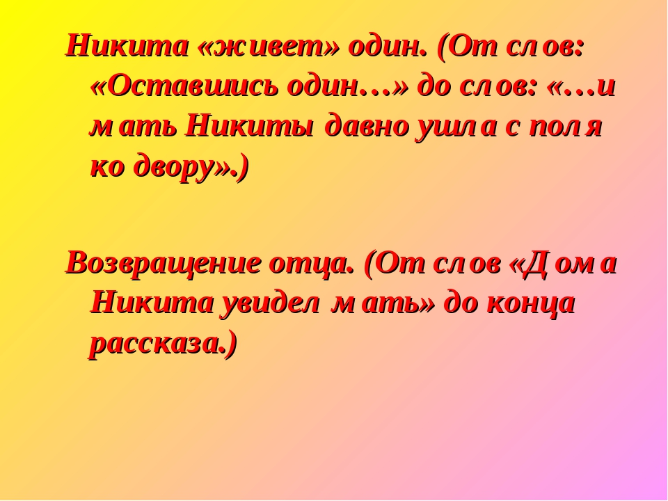 Никита «живет» один. (От слов: «Оставшись один…» до слов: «…и мать Никиты дав...