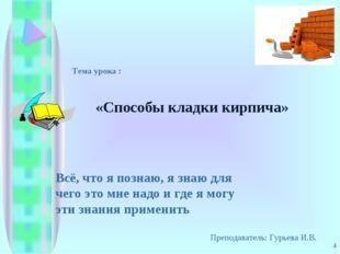 * Тема урока : «Способы кладки кирпича» Преподаватель: Гурьева И.В. Всё, что