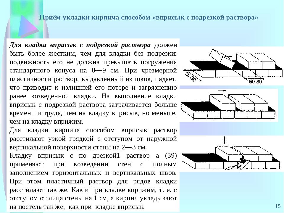* Для кладки вприсык с подрезкой раствора должен быть более жестким, чем для...