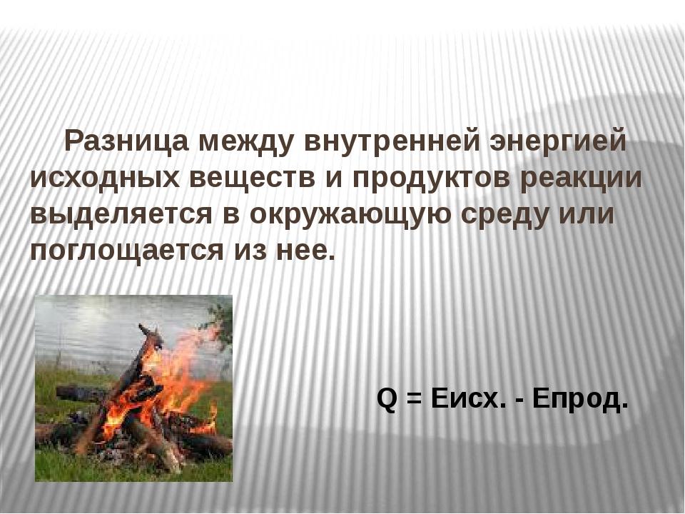 Разница между внутренней энергией исходных веществ и продуктов реакции выдел...