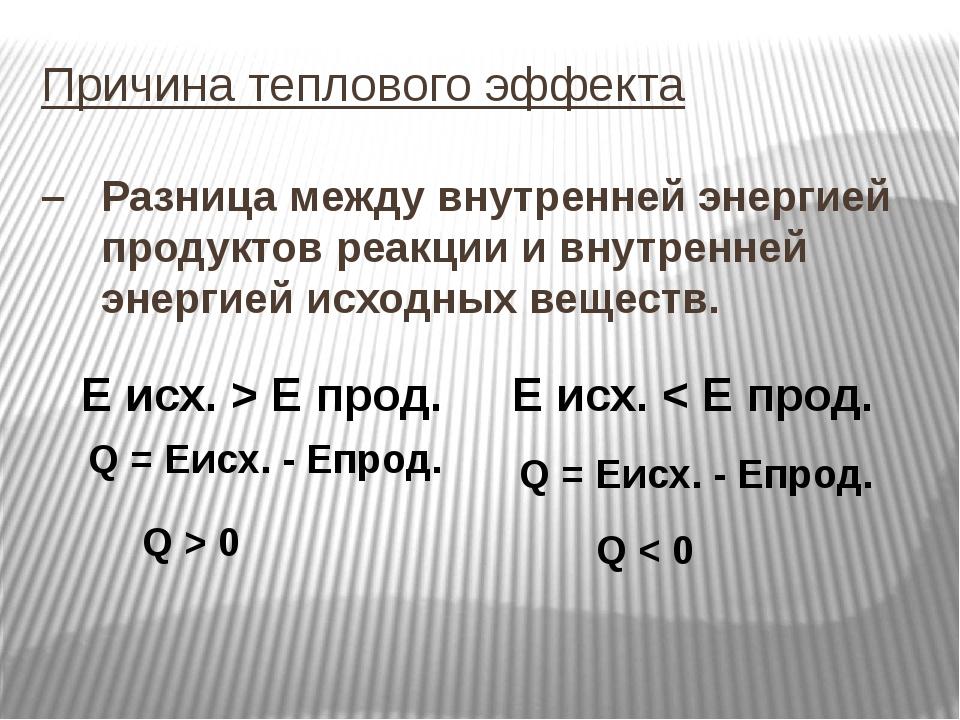 Причина теплового эффекта – Разница между внутренней энергией продуктов реакц...