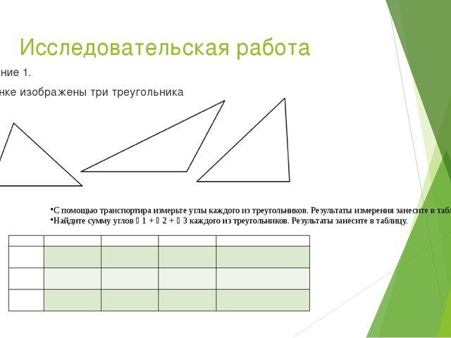 Исследовательская работа Задание 1. На рисунке изображены три треугольника С...