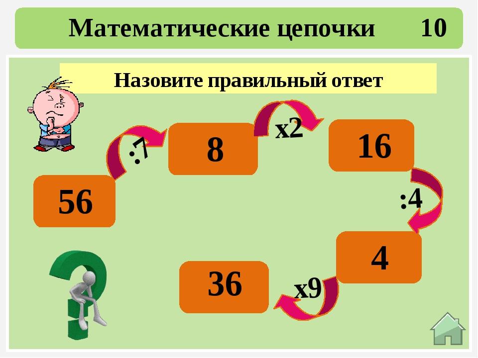30 Математические цепочки 50 +40 :3 -10 :5 х8 90 30 20 4 32 Какое число полу...