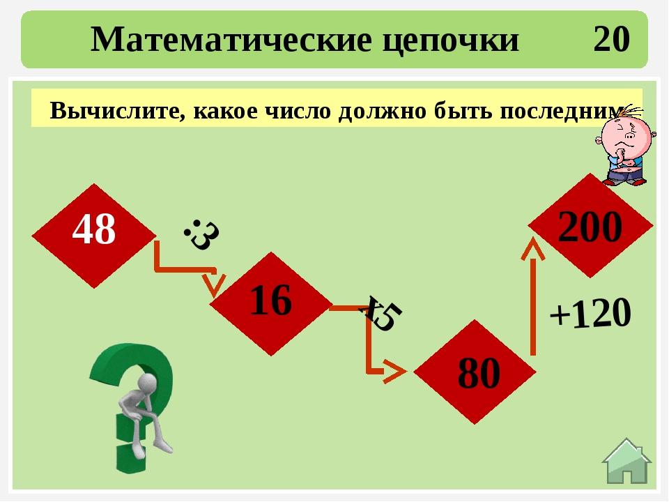 40 Математические цепочки 60 +9 :3 -15 х12 :2 +12 69 23 8 96 48 Восстановите...
