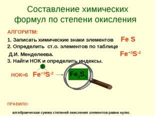 Составление химических формул по степени окисления АЛГОРИТМ: Записать химиче