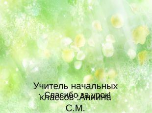 Учитель начальных классов :Аннина С.М. Спасибо за урок!