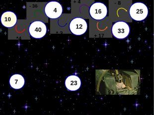 10 - 36 * 3 + 4 + 17 - 8 *4 40 4 12 16 33 25 7 33 25 Белка Стрелка Лайка 40