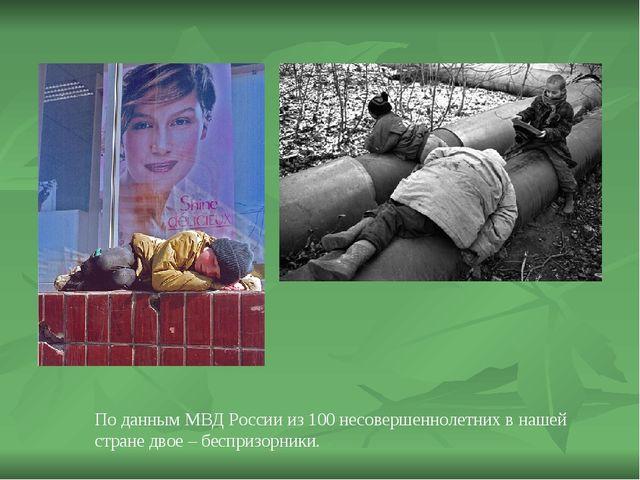 По данным МВД России из 100 несовершеннолетних в нашей стране двое – беспризо...
