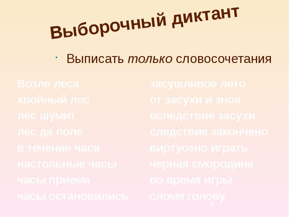 Выборочный диктант Выписать только словосочетания Возле леса хвойный лес лес...