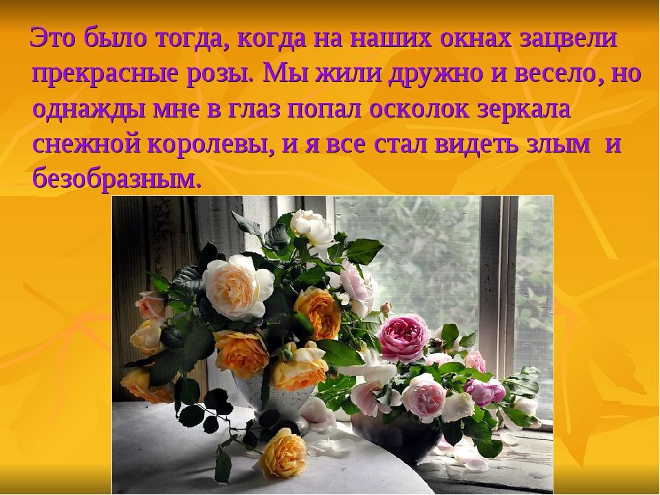Это было тогда, когда на наших окнах зацвели прекрасные розы. Мы жили дружно...