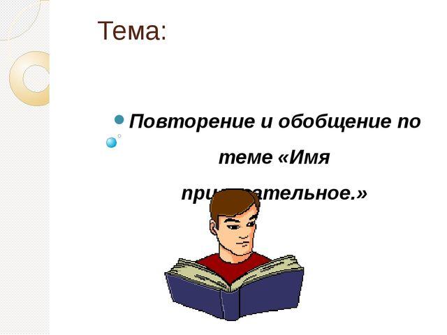 Тема: Повторение и обобщение по теме «Имя прилагательное.»