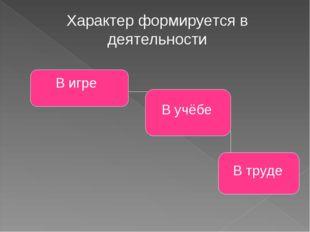 Характер формируется в деятельности В игре В учёбе В труде