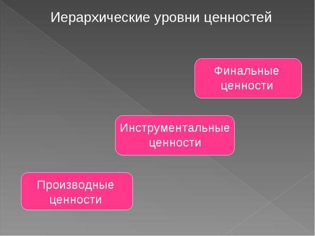 Иерархические уровни ценностей Производные ценности Инструментальные ценности...