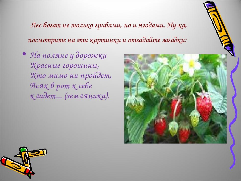 Лес богат не только грибами, но и ягодами. Ну-ка, посмотрите на эти картинки...