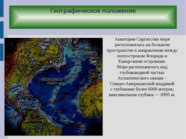 Географическое положение Акватория Саргассова моря расположилась на большом п...