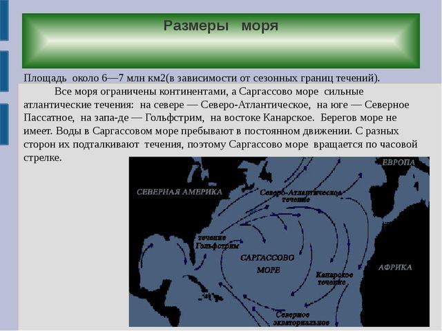 Размеры моря Площадь около 6—7 млн км2(в зависимости от сезонных границ течен...