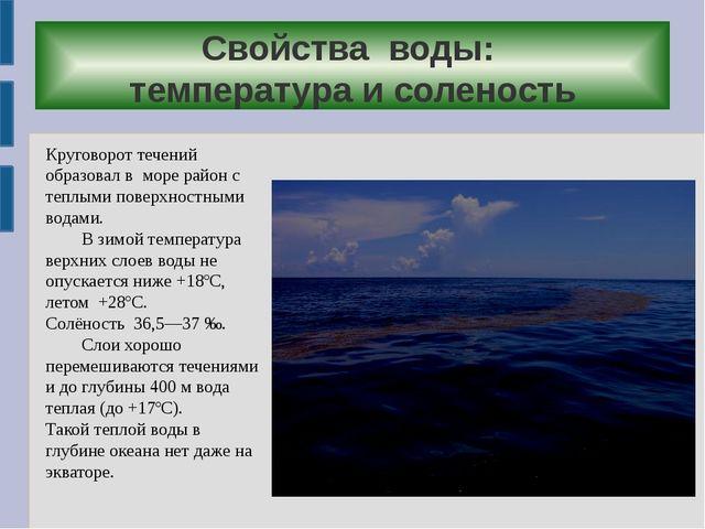Свойства воды: температура и соленость Круговорот течений образовал в море ра...