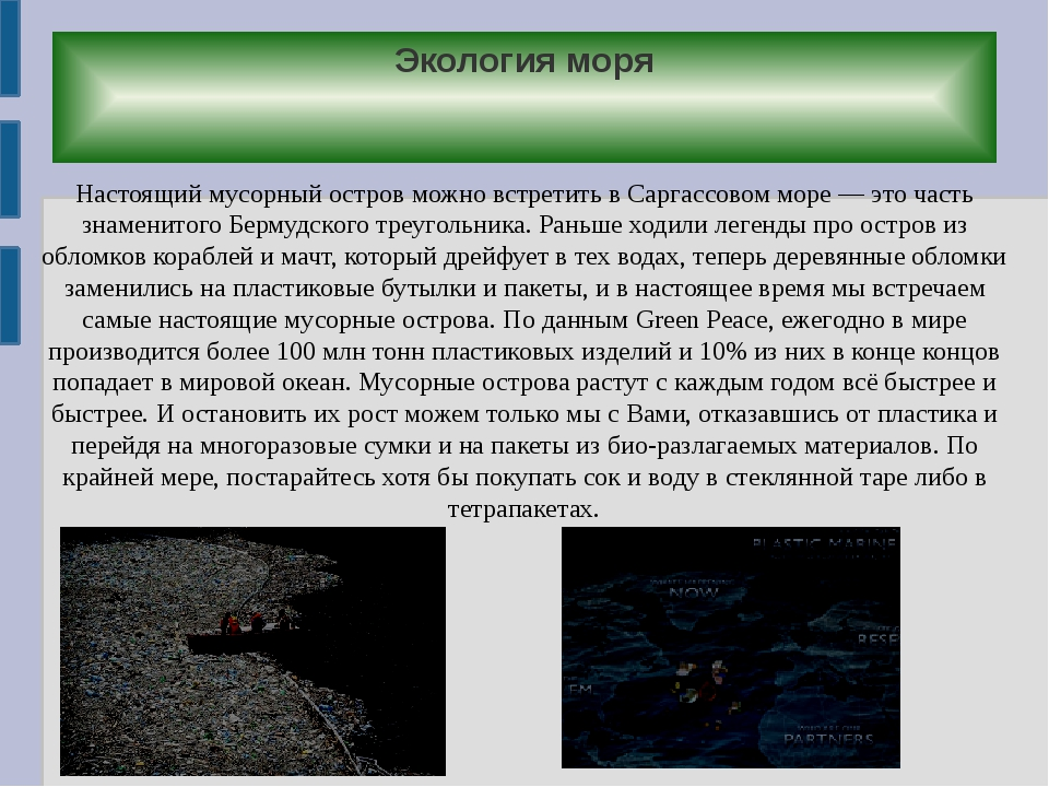 Экология моря Настоящий мусорный остров можно встретить в Саргассовом море —...