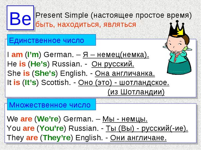 I am (I'm) German. – Я – немец(немка). He is (He's) Russian. - Он русский. S...