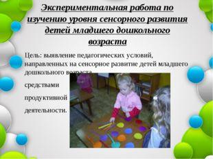 Экспериментальная работа по изучению уровня сенсорного развития детей младшег