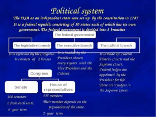Political system The USA as an independent state was set up by the constituti