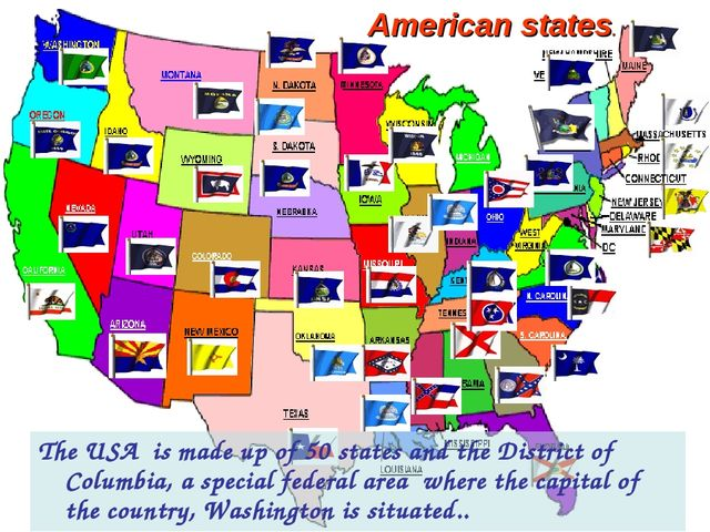 The USA is made up of 50 states and the District of Columbia, a special fede...