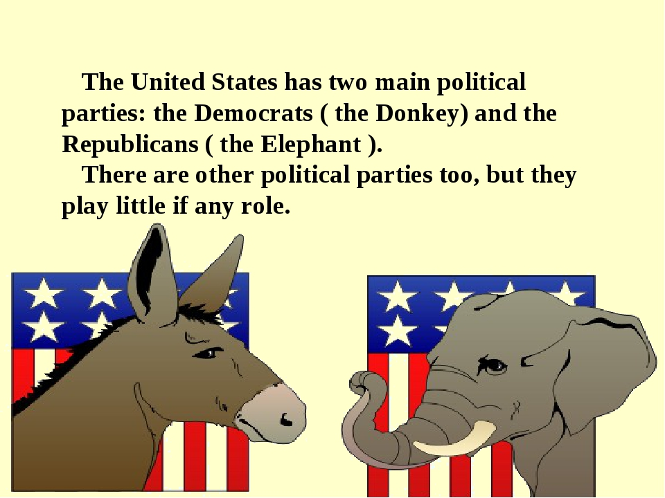 The United States has two main political parties: the Democrats ( the Donkey...