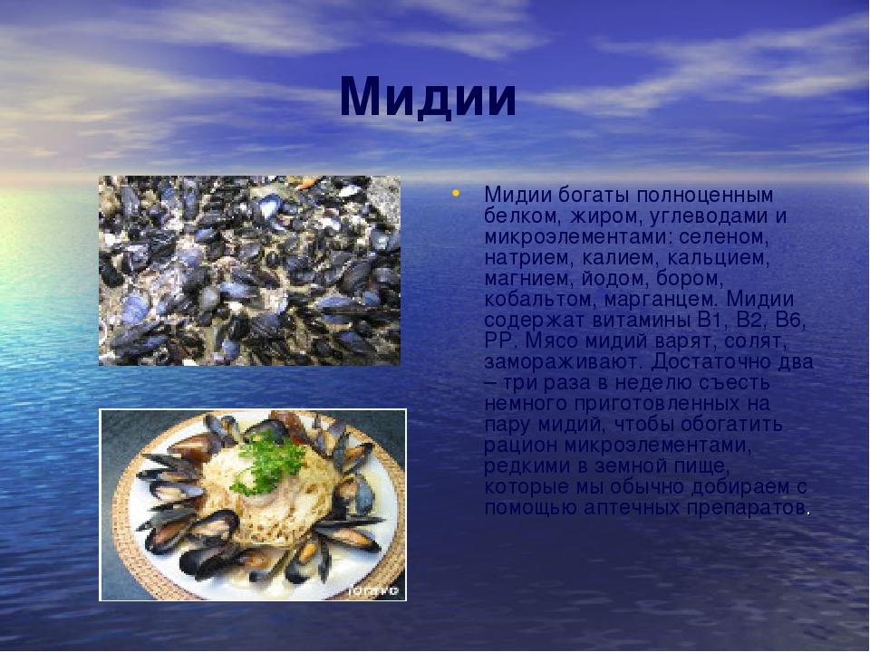Мидии Мидии богаты полноценным белком, жиром, углеводами и микроэлементами: с...