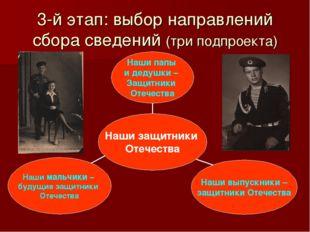 3-й этап: выбор направлений сбора сведений (три подпроекта)