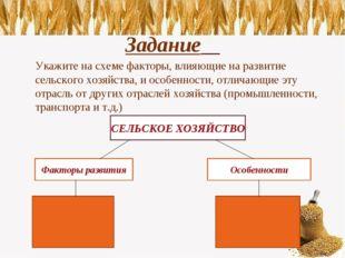 Задание Укажите на схеме факторы, влияющие на развитие сельского хозяйства,