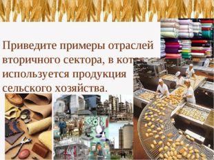 Приведите примеры отраслей вторичного сектора, в которых используется продук
