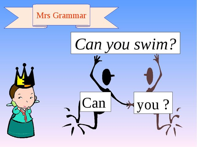 Can you ? Mrs Grammar Can you swim?