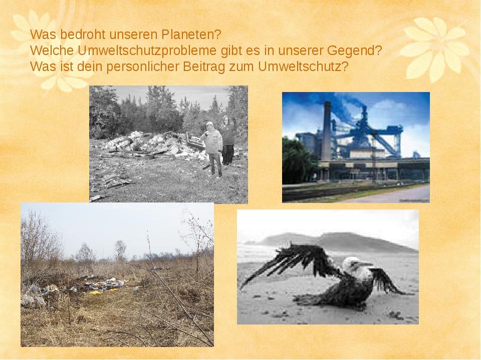Was bedroht unseren Planeten? Welche Umweltschutzprobleme gibt es in unserer...