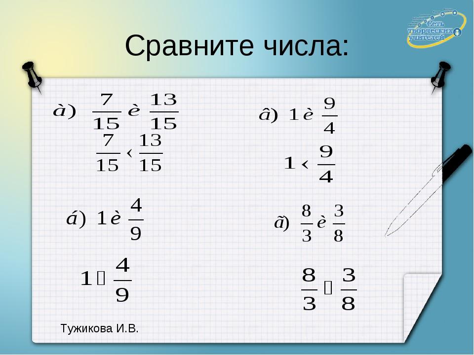 Сравните числа: Тужикова И.В.
