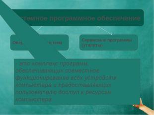 Системное программное обеспечение Операционная система Сервисные программы (у