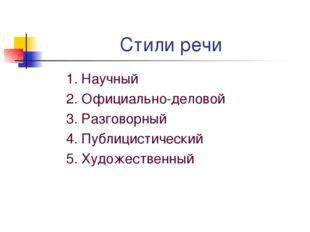 Стили речи 1. Научный 2. Официально-деловой 3. Разговорный 4. Публицистически